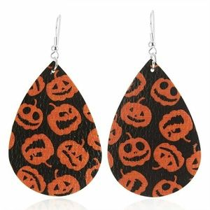 Jack O Lantern Leather Teardrop Earrings